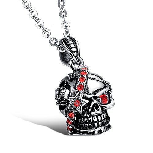 fcd992861cf4 Fate Love Hombres de acero inoxidable colgante de calavera Inlay Rojo  Circonita Collar con 19.68
