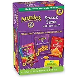 Annie's Variety Snack Pack, Cheddar Bunnies/Friends Bunny Grahams/Cheddar Squares, Baked Snack Crackers, 12-Count, 11 oz