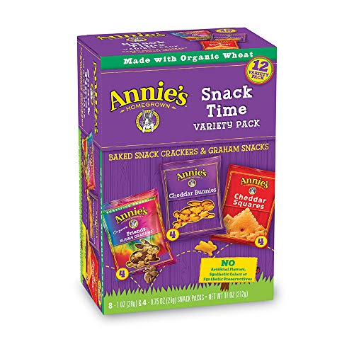 Squares Graham Cracker (Annie's Variety Snack Pack, Cheddar Bunnies/Friends Bunny Grahams/Cheddar Squares, Baked Snack Crackers, 12-Count, 11 oz)