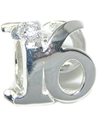 """Solid 925 Sterling Silver """"Two Sided Number 16 with Clear CZ"""" Charm Bead"""
