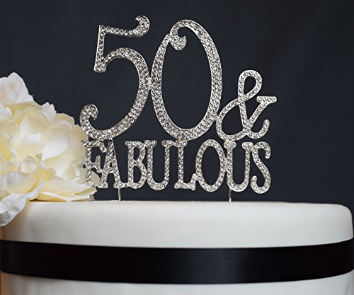 50 Fabulous Cake Topper Birthday Premium Rhinestone Cake Topper