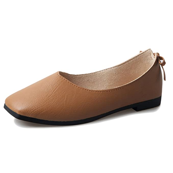 Mocasines Para Mujer Bow Square Head Light PU Zapatos Para Barcos Moccasins Flats Sandals Para Commuter Shopping Pumps,Brown-40: Amazon.es: Ropa y ...
