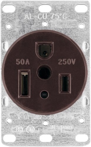 250v Flush Mount (EATON 1254-BOX 50-Amp 2-Pole 3-Wire 250-Volt Heavy Duty Grade Flush Mount Power Receptacle, Brown)