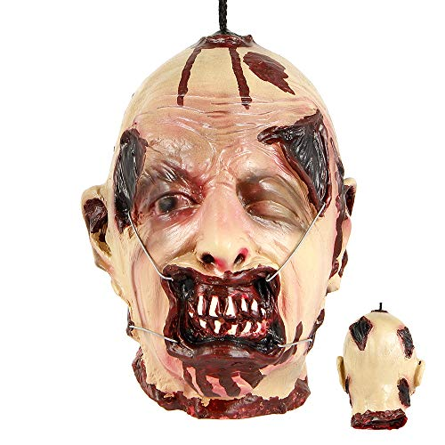 LITTLEGRASS Halloween Props Scary Hanging Severed Head Decorations,Life-Size Bloody Cut Off Corpse Head Ghost Animated Zombie Head for Haunted Houses Party Decor Funny Festive Supplies