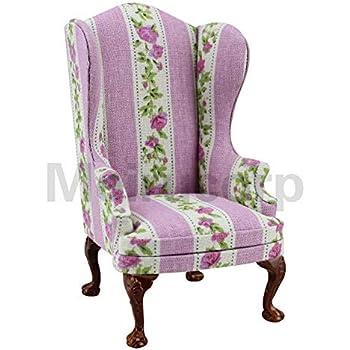 1//6 scale dolls mini furniture handmade carve stripe Petal pattern Armchair