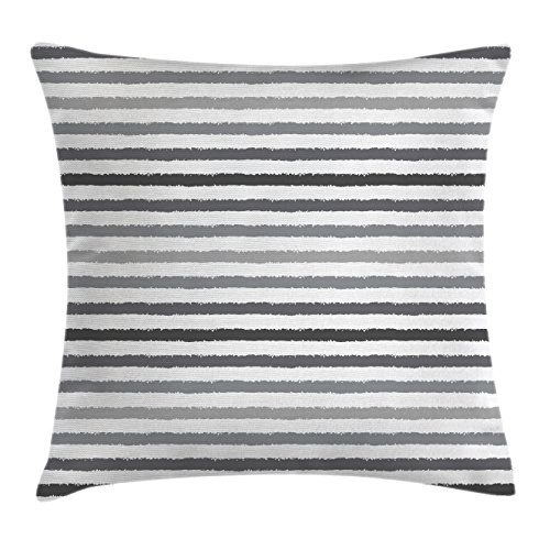 Ambesonne Striped Throw Pillow Cushion Cover, Grey and White Stripes Monochrome Tone Brush Style Lines Grunge Retro Digital Print, Decorative Square Accent Pillow Case, 24
