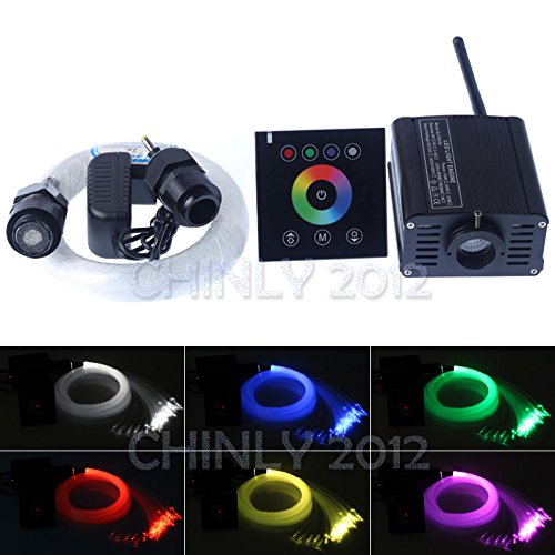 16W RGBW 2.4G wireless touch switch controller LED Fiber optic light Star Ceiling Kit Lights 300pcs 0.75mm 6.5ft led ceiling light bluetooth+crystal by CHINLY