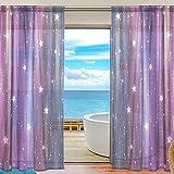 Vantaso Sheer Curtains 84 inch Long Colorful Galaxy Light Purple for Kids Girls Bedroom Living Room Window Decorative 2 Panels