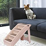 Pet Stairs, Foldable Durable Indoor or Outdoor 4 Steps 24 in support up to 120lb for Dog Cat Animal Step Ramp, Best for Small to Medium Pets, Portable, Washable and Easy Storage