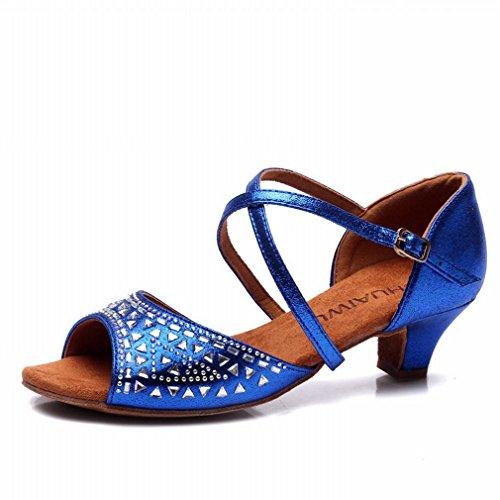 BYLE Sandalias de Cuero Tobillo Modern Jazz Samba Zapatos de Baile Zapatos de Baile Zapatos de Baile Latino Femenino 38 Azul