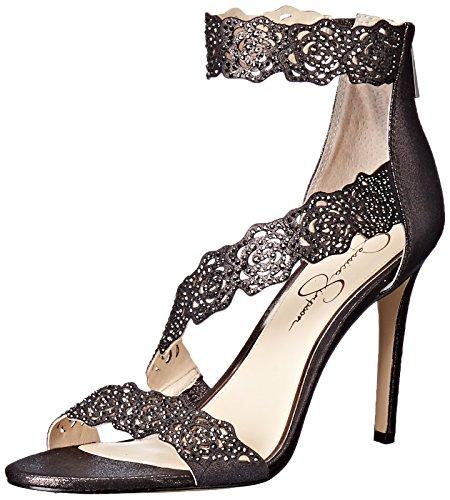 Jessica Simpson Women's Geela Heeled Sandal, Black/Gunmetal, 8 Medium (Jessica High Heel Sandals)