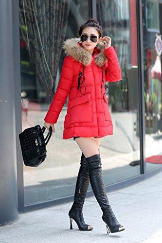 Cm Busto Piumino L Caldo 100 Rosso Chic Faux Lungo Bigood Ispessito Women YzxPwP