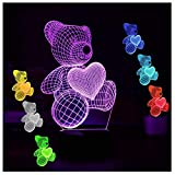 Gifts for Mom Girls Teddy Bear Night Lights for Kids Women 3D Illusion Lamp Animal Light Led Desk Lamps Gifts for Daughter Teens Home Decor Office Bedroom Party Decorations Nursery 7 Color Children