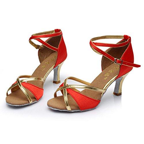 da Pattini Fondo Womens all'Usura Morbido di rosso Ballo Medio Scarpe Sandalo WYMNAME Dancing Heels Latino Resistente qaEBXBw