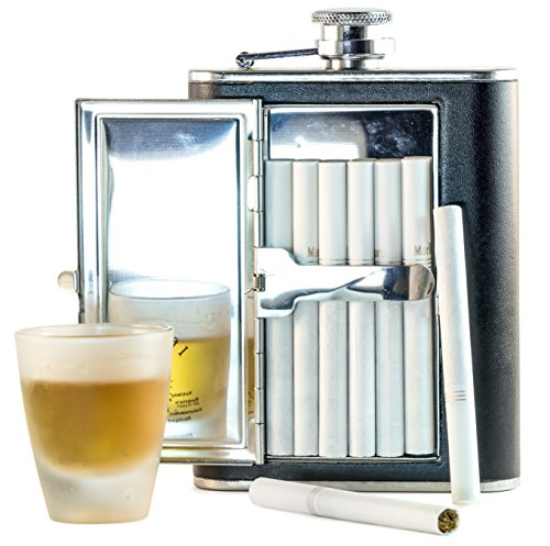Perfect-Pregame-Flask-Cool-Stainless-Steel-and-Leather-Alcohol-Flask-with-CompartmentCigarette-Case-For-Men-and-Women-Flask-for-Liquor-and-Smokes