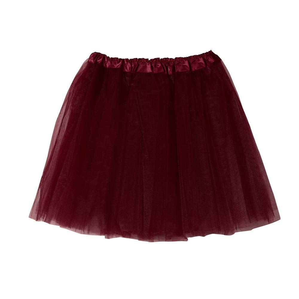 BAOHOKE Women's Mesh Solid Color Cute Dancing Tutu for Ladies Prom Mini Skirts(Wine Red,Free Size)