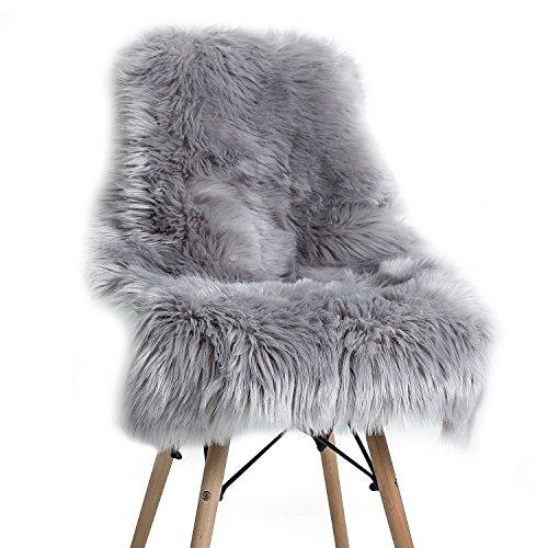 YOH Soft Faux Sheepskin Chair Cover Seat Cushion, Modern Imitation Sheepskin Plush Carpets Fluffy Shaggy Area Rugs for Home Decor Mat 23.6 X 35.4 Inches (Grey) (Shaggy Chair)