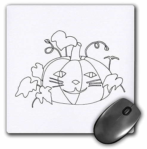 3dRose CherylsArt Holidays Halloween - Outline Drawing of a Pumpkin with a Cute cat face for Halloween - Mousepad (mp_223208_1) -