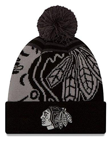 "Chicago Blackhawks New Era NHL ""Logo Whiz Black"" Cuffed Knit Hat with Pom"