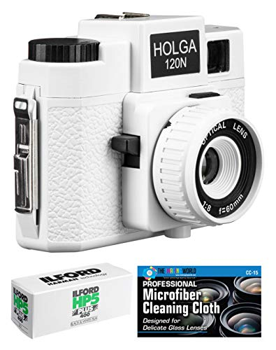 Holga 120N Medium Format Film Camera (White) with Ilford HP5 120 Film Bundle and Microfiber Cloth