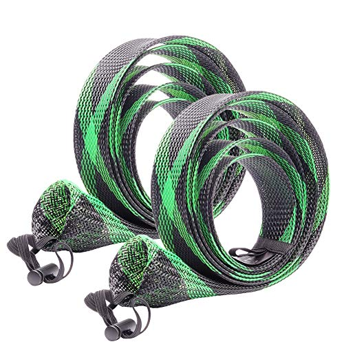 SF Standard Casting Rod Sock Fishing Rod Sleeve Rod Cover Braided Mesh Rod Protector Pole Gloves Fishing Tools for Casting Fishing Rod (New Green/Black/2PCS)