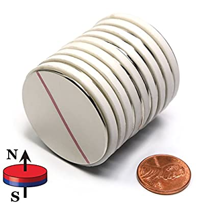 """CMS Magnetics N45 1.5"""" x 1/16"""" Disc Neodymium Magnets , A Pack of 10 Strong Magnets"""