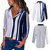 Blouses For Womens,Clearance Sale!!Farjing Womens Casual Long Sleeve Color Block Stripe Button T Shirts Tops Blouse (L, Multicolor 4)