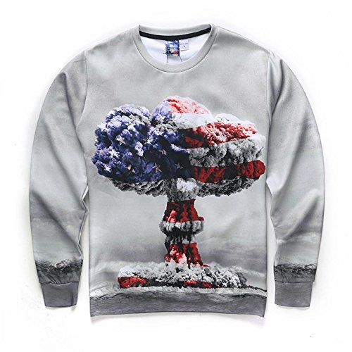 TOPDCLSN USA Flag Men/Women Digital Printing Atomic Bomb Mushroom Clouds Autumn Winter Thin Style 3D Sweatshirts Hoodies,W1673008,XL