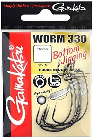 Gamakatsu Worm 330 Bottom Jigging - Offset Haken für Gummiköder, Offsethaken für Gummifische, Wide Gap Angelhaken für Jigs