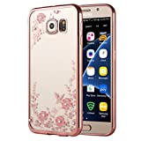 Samsung Galaxy S7 Gel Case, KrygerShield® - Super Slim Clear TPU Cover, Pink Flower & Diamond Encrusted Pattern - Rose Gold