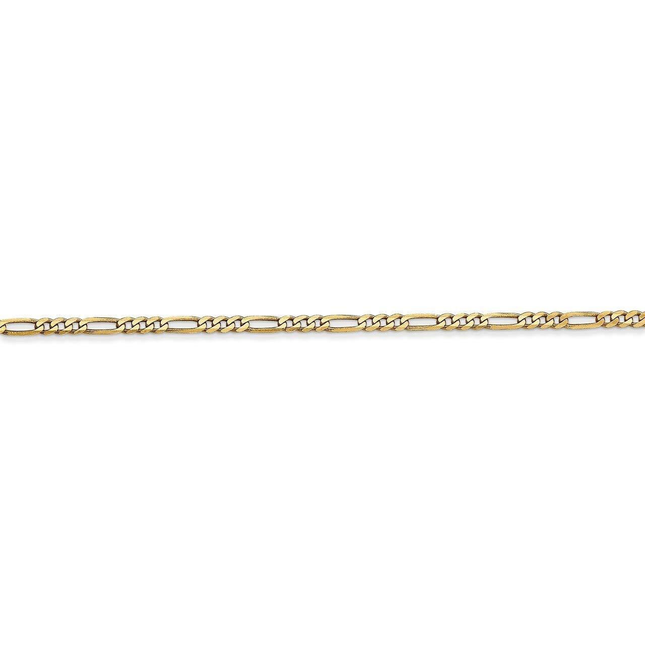 Lex /& Lu 14k Yellow Gold 1.80mm Flat Figaro Chain Necklace or Bracelet