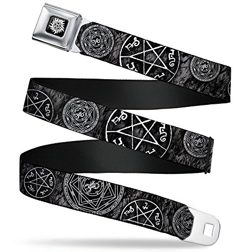 Devils Trap (Buckle-Down Seatbelt Belt - Supernatural Devil's Trap Pentagrams Grays/Black/White - 1.5