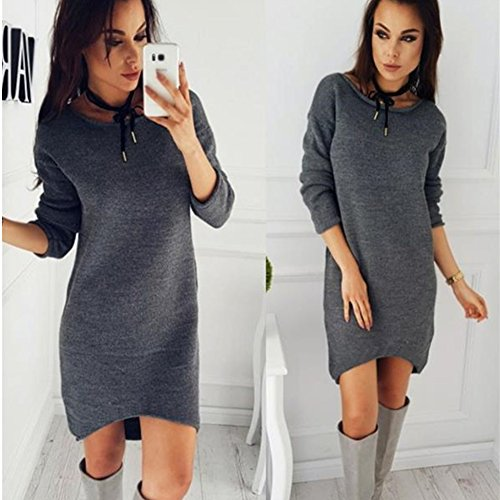 Longues Mode Hiver Col Manches Lache Chemises Automne Mini Minetom Rond Shirt Femme Pull Solide Long Gris Dcontract Robe Blouse Pullover qB1OnwWx