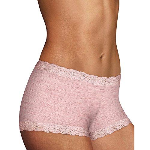 Maidenform Microfiber Lace Boyshorts Pink Heather 5
