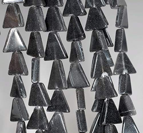 10X10MM Black Moonstone Gemstone Black Grey Triangle Nugget Loose Beads 14''