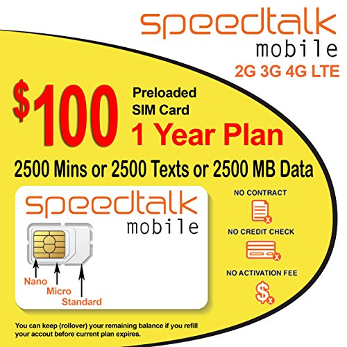 1 Year Prepaid GSM SIM Card - Rollover 2500 Minutes Talk Text Data
