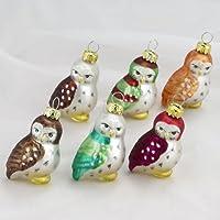 Kurt Adler 1.96-Inch Glass Owl Ornaments, 6-Piece Set