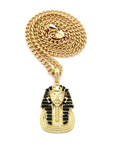 gold-black-tone-micro-king-pharaoh-pendant-5mm-24-cuban-chain-necklace-xsp440gcc