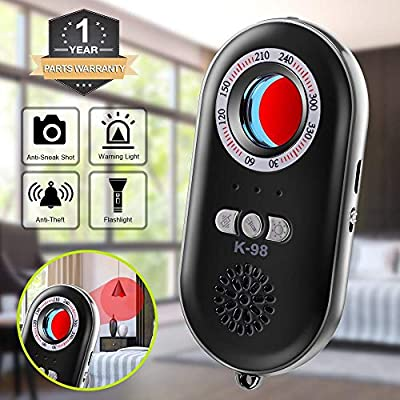 Eilimy Anti-Spy Hidden Camera Detector Infrared Portable Safesound Personal Alarm 3-in-1 Functionality Defense Emergency Alert with Mini LED Flashlight for Home Hotel Travel Suitcase Security Box