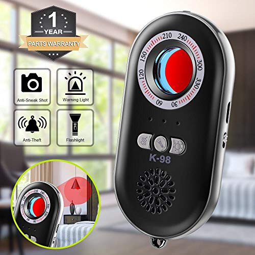Hidden Camera Finder - Eilimy Anti-Spy Hidden Camera Detector Infrared Portable Safesound Personal Alarm 3-in-1 Functionality Defense Emergency Alert with Mini LED Flashlight for Home Hotel Travel Suitcase Security Box