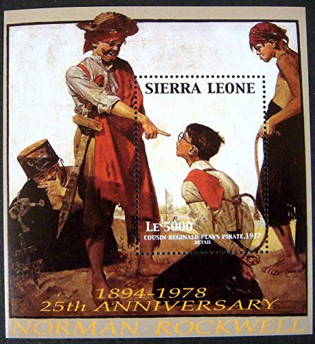 Norman Rockwell - Famous American Artist - Cousin Reginald Plays Pirate - Beautiful Collectors Stamps - Sierra Leone