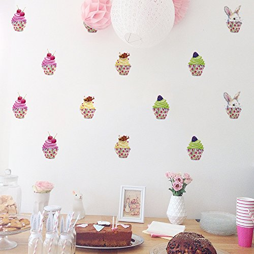 HACASO 24 PCS 2.3 Inches by 3.9 Inches Colorful Cupcake Wall Decal Sticker For Kids Bedroom Decor -DIY Home Decor Vinyl Cupcake Mural Baby Nursery Room - Cupcake Stickers Wall