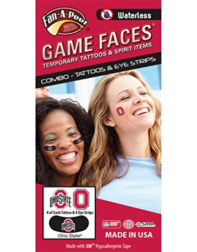 Fan A Peel Ohio State University (OSU) Buckeyes - Waterless Peel & Stick Temporary Tattoos - 12-Piece Combo
