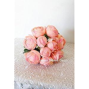 Sweet Home Deco 9'' Soft Silk Ranunculus Flower Bouquet (10 Stems/10 Flower Heads) Wedding/Home Decorations (Peach) 3