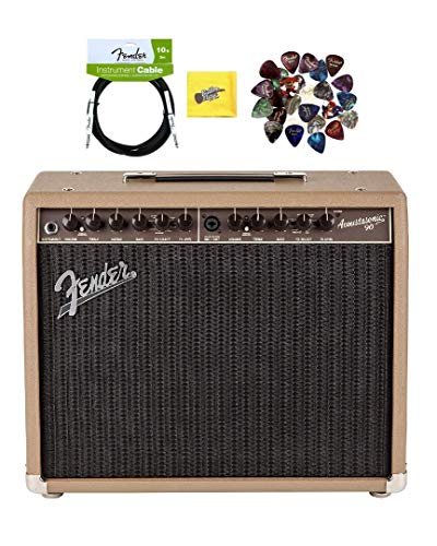 Fender Acoustasonic 90 Acoustic Guitar Amplifier - Brown and Wheat Bundle with Instrument Cable, Pick Sampler, and Austin Bazaar Polishing Cloth