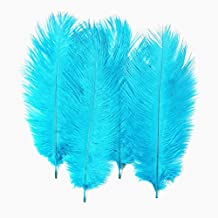 50 Pieces High Quality Nature Ostrich Feathers Wedding Party Decorations 15-20cm (blue)
