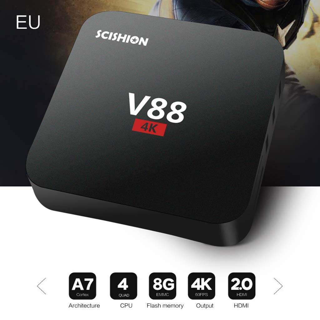 JUNESUN 1Set V88 Android 7.1/8.1 RK3229 Quad Core Smart TV Box 1GB+8GB HD WiFi Multimedia Player Set Top Box