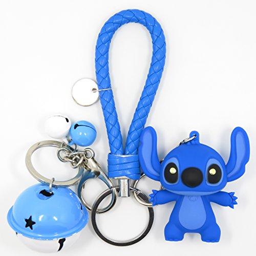 Bat King Cute 3D Cartoon Blue Alien Dog Key Chain Key Ring,Handbags Accessory,Portable Strip with Bell