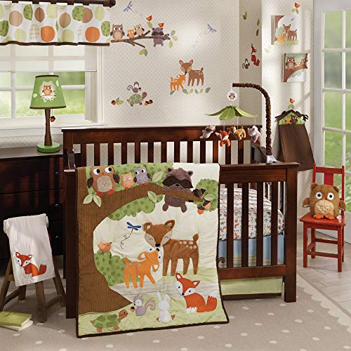 Lambs & Ivy Woodland Tales 4-Piece Crib Bedding Set - Brown, White, Green