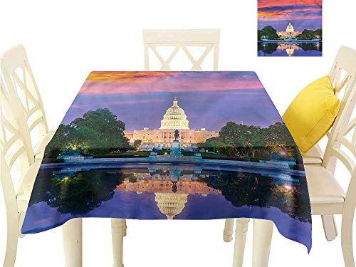Davishouse Fabric Dust-Proof Table Cover US Congress Building Lake Indoor Outdoor Camping Picnic W54 x L54 ()